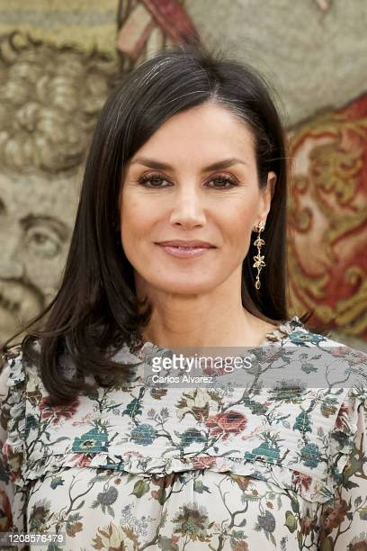 Queen Letizia of Spain attends several audiences at Zarzuela Palace on February 25 2020 in Madrid Spain