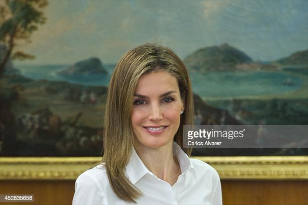 Queen Letizia of Spain attends several audiences at Zarzuela Palace on July 28, 2014 in Madrid, Spain.