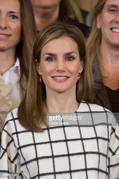 Queen Letizia of Spain attends several audiences at Zarzuela Palace on November 3 2014 in Madrid Spain