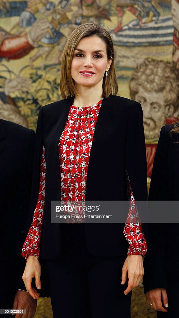Queen Letizia of Spain attends several audiences at Zarzuela Palace on January 8, 2016 in Madrid, Spain.