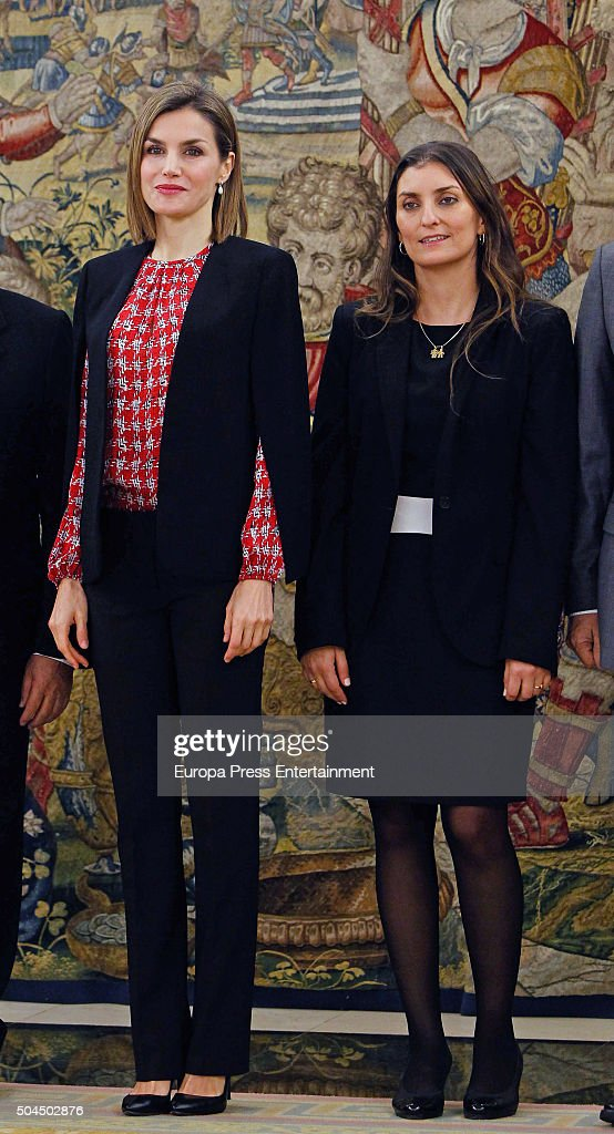 Queen Letizia of Spain (L) attends several audiences at Zarzuela Palace on January 8, 2016 in Madrid, Spain.