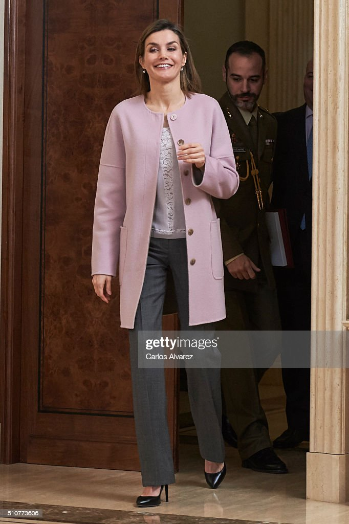 Queen Letizia of Spain Attends Audiences at Zarzuela Palace