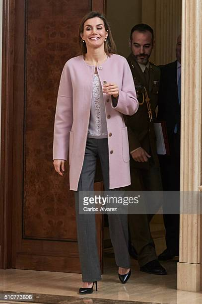 Queen Letizia of Spain attends several audiences at Zarzuela Palace on February 17 2016 in Madrid Spain