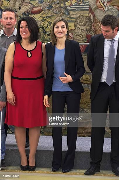 Queen Letizia of Spain attends several audiences at Zarzuela Palace on April 1 2016 in Madrid Spain