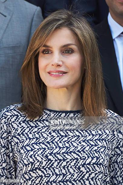 Queen Letizia of Spain attends several audiences at Zarzuela Palace on June 24 2016 in Madrid Spain