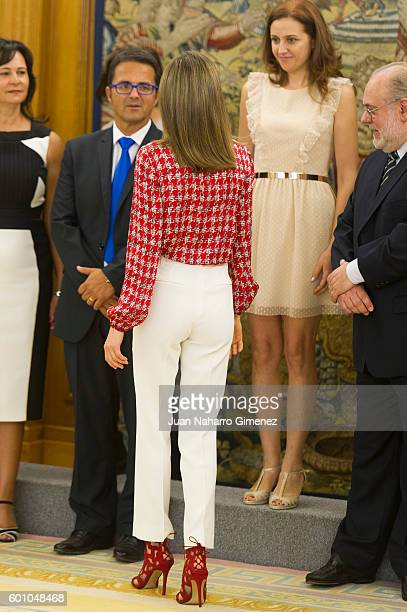 Queen Letizia of Spain attends several audiences at Zarzuela Palace Palace on September 9 2016 in Madrid Spain