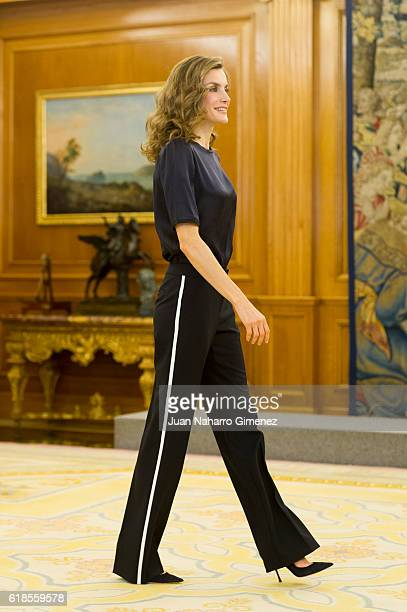 Queen Letizia of Spain attends several audiences at Zarzuela Palace on October 27 2016 in Madrid Spain
