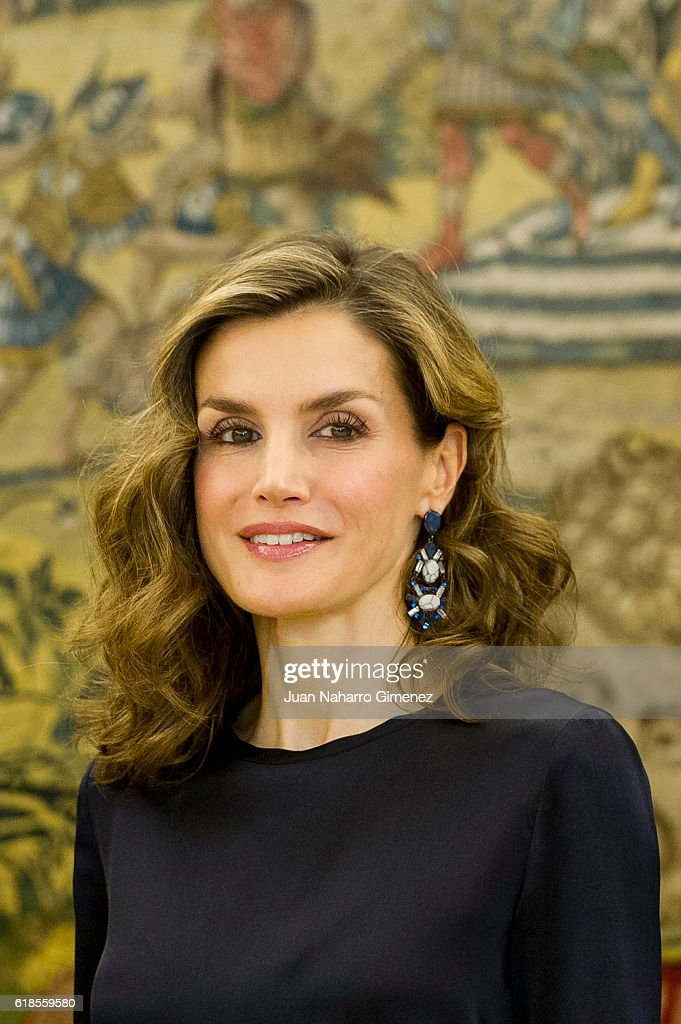 Queen Letizia of Spain attends several audiences at Zarzuela Palace on October 27, 2016 in Madrid, Spain.