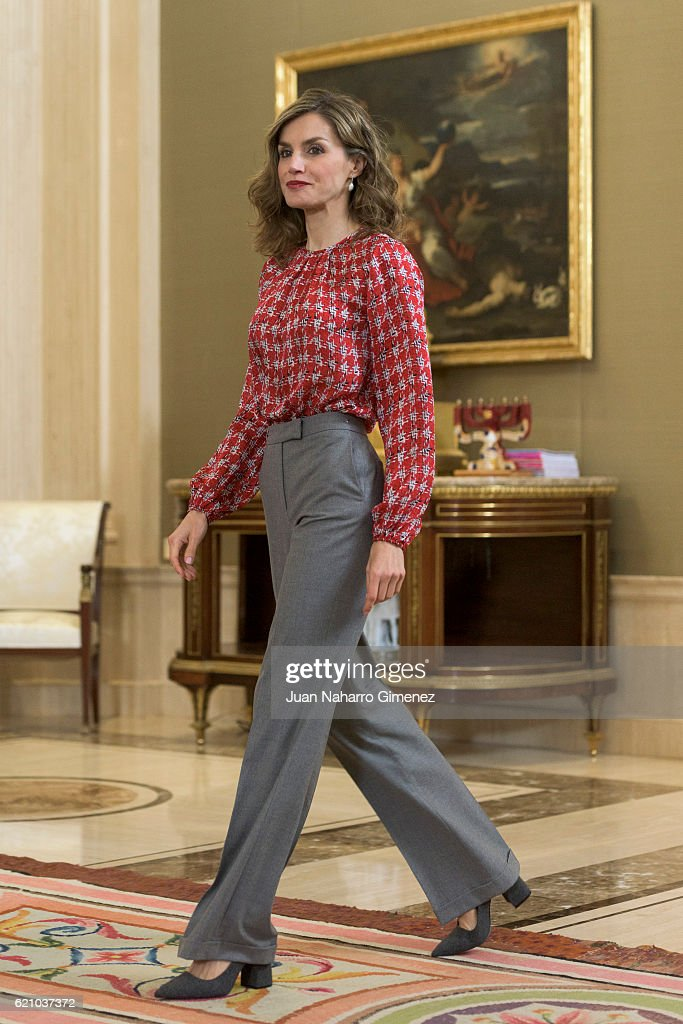 Queen Letizia Attends Audiences at Zarzuela Palace