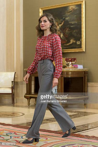 Queen Letizia of Spain attends several audiences at Zarzuela Palace on November 4 2016 in Madrid Spain