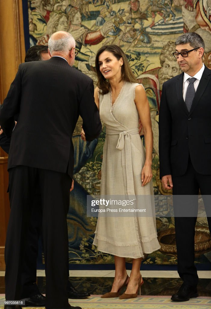 Queen Letizia of Spain attends several audiences at Zarzuela Palace on July 12, 2018 in Madrid, Spain.