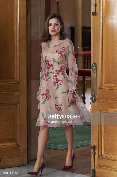 Queen Letizia of Spain attends several audiences during the Princess of Asturias Award 2017 at the Reconquista Hotel on October 20 2017 in Oviedo...