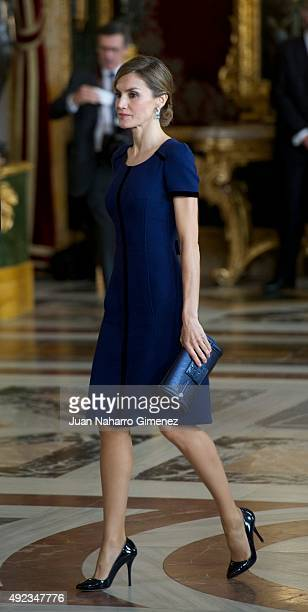 Queen Letizia of Spain attends Spain's National Day royal reception at Royal Palace in Madrid on October 12 2015 in Madrid Spain