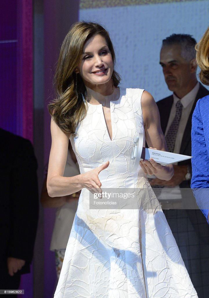 Queen Letizia of Spain attends the 2017 National Fashion Awards at the Museo del Traje on July 17, 2017 in Madrid, Spain.
