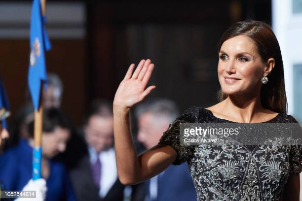 Queen Letizia of Spain attends the 2018 Princess of Asturias Awards at the Campoamor Teather on October 19, 2018 in Oviedo, Spain.