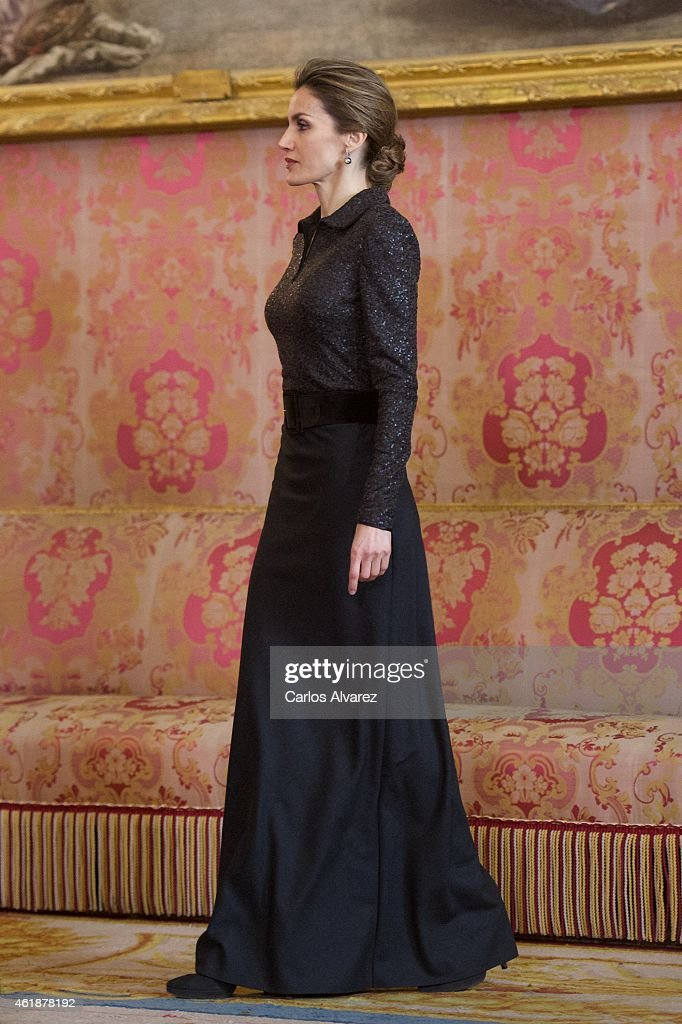 Queen Letizia of Spain attends the annual Foreign Ambassadors reception at the Royal Palace on January 21, 2015 in Madrid, Spain.