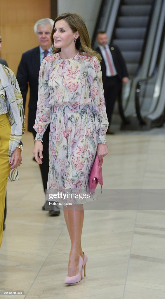 Queen Letizia of Spain attends the 'Cancer Research World Day' event at El Prado Museum on September 22, 2017 in Madrid, Spain.