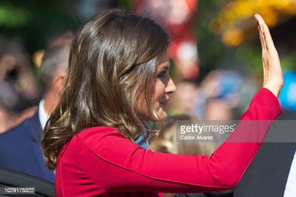 Queen Letizia of Spain attends the Centenary of the Catholic Coronation of the Virgin of Covadonga at Santa Cueva de Covadonga on September 8 2018 in...