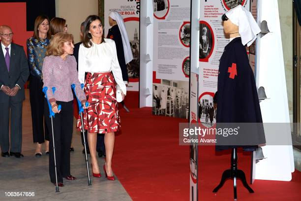 Queen Letizia of Spain attends the centenary of the School of Nursing and of the Central Hospital of Cruz Roja at Circulo de Bellas Artes cultural...