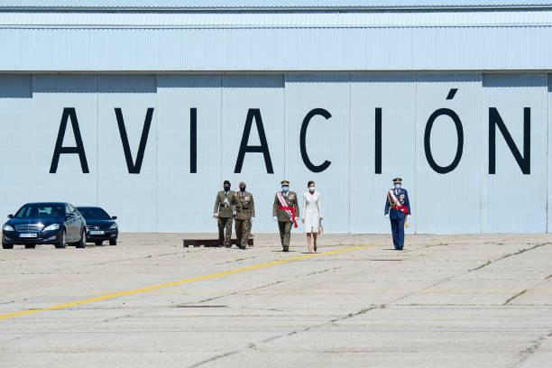 ESP: Queen Letizia Attends A Military Event In Colmenar Viejo