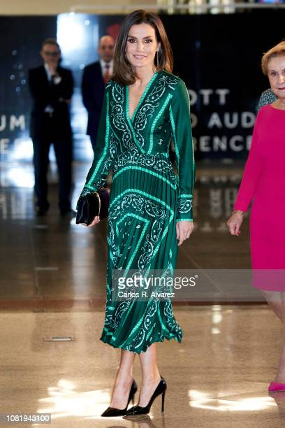 Queen Letizia of Spain attends the closure of AFAMMER International Congress at the Marriot Auditorium Hotel on December 13 2018 in Madrid Spain