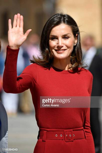 Queen Letizia Of Spain attends the closure Of Journalist's Seminar 'Como Los Medios De Comunicacion Pueden Ayudar A Repoblar La España Rural' on June...