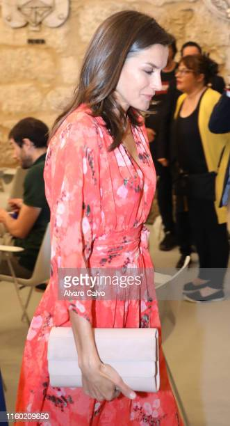 Queen Letizia Of Spain Attends The Closure of The Seminar' Heritage Education In The School' International Center of the Spanish language in La Rioja...