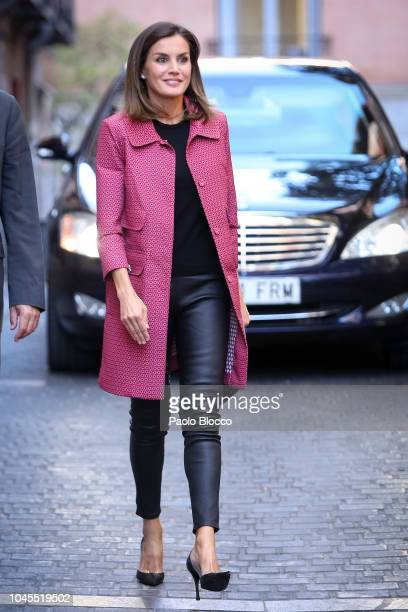 Queen Letizia of Spain attends the conference 'Iniciativas de Formacion y Empleo Para Jovenes' at Red Cross headquarters on October 4 2018 in Madrid...