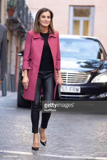 Queen Letizia of Spain attends the conference 'Iniciativas de Formacion y Empleo para jovenes' at Red Cross headquarters on October 4 2018 in Madrid...