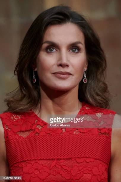 Queen Letizia of Spain attends the deliver of Princess of Asturias awards medals during the Princess of Asturias Award 2018 at the Reconquista Hotel...