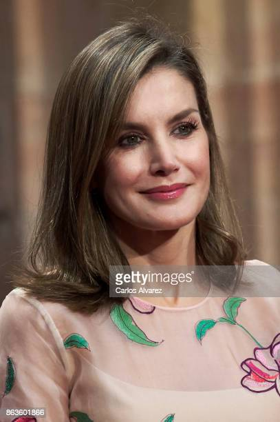 Queen Letizia of Spain attends the deliver of Princess of Asturias awards medals during the Princess of Asturias Award 2017 at the Reconquista Hotel...