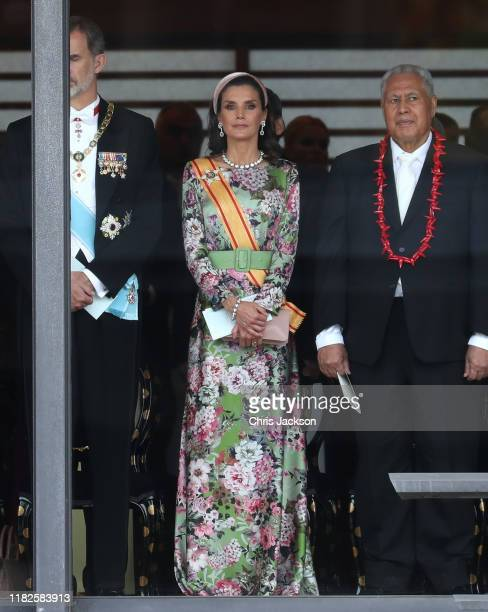 Queen Letizia of Spain attends the Enthronement Ceremony of Emperor Naruhito at the Imperial Palace on October 22, 2019 in Tokyo, Japan.