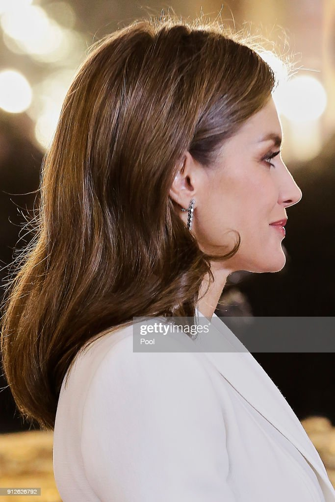 Queen Letizia of Spain attends the Foreign Ambassadors Reception at The Royal Palace on January 31, 2018 in Madrid, Spain.