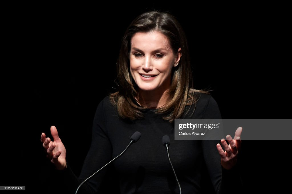 ESP: Queen Letizia  of Spain Attends  A Cancer Forum in Madrid
