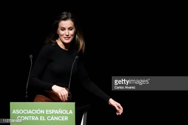 Queen Letizia of Spain attends the forum against cancer 'Por Un Enfoque Integral' at CaixaForum on February 04 2019 in Madrid Spain