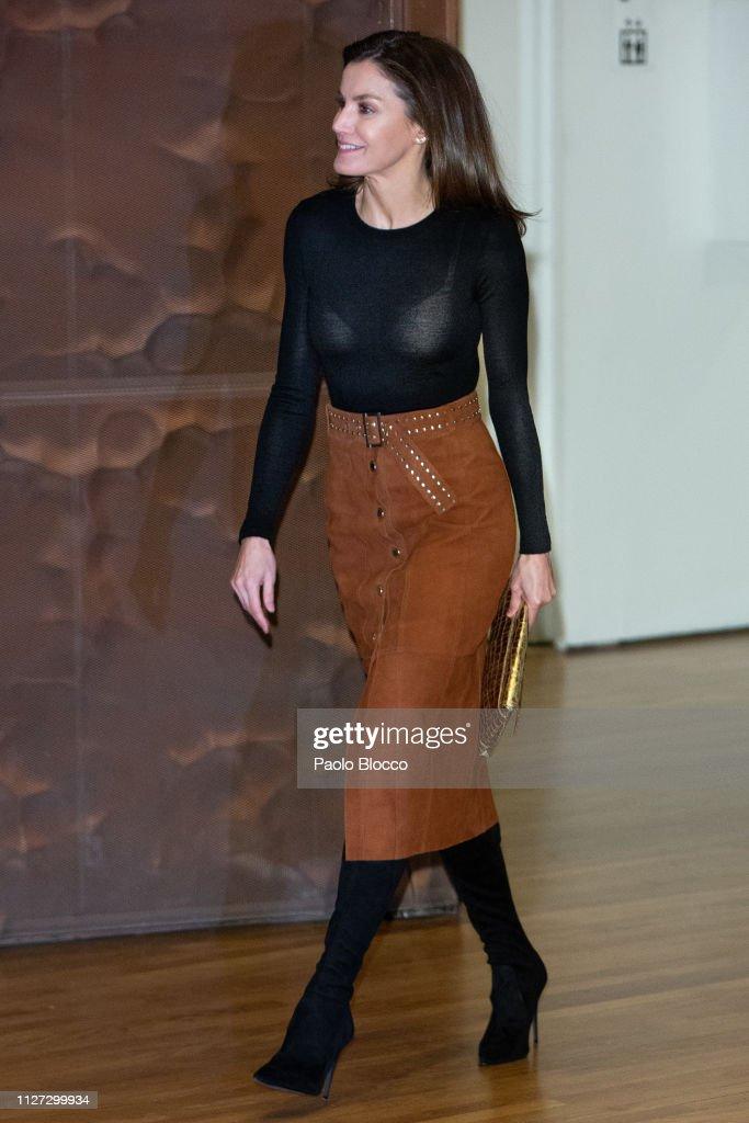 Queen Letizia  of Spain Attends  A Cancer Forum in Madrid : Nachrichtenfoto