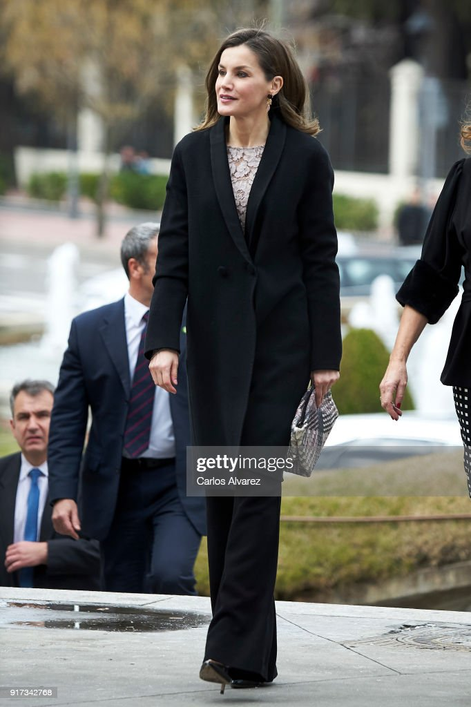 Queen Letizia of Spain attends the 'Innovation and Design' awards 2017 at El Bosque Theater on February 12, 2018 in Mostoles, Spain.