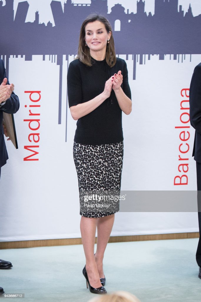Queen Letizia of Spain attends the 'International Friendship Award' at IESE Business School on April 9, 2018 in Madrid, Spain.