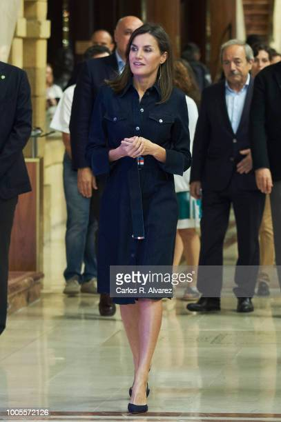 Queen Letizia of Spain attends the International Music School Summer Courses by Princess of Asturias Foundation at the Prince Felipe Auditorium on...