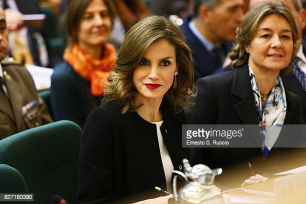 Queen Letizia of Spain attends the International Symposium Sustainable Food Systems In Favor Of Healthy Diets And The Improvements O Nutrition at FAO...