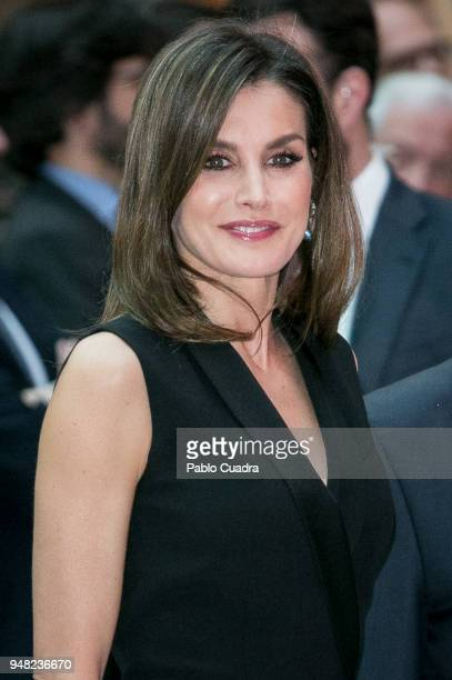 Queen Letizia of Spain attends the Literature awards 'Barco de Vapor' event at 'Casa de Correos' on April 18 2018 in Madrid Spain
