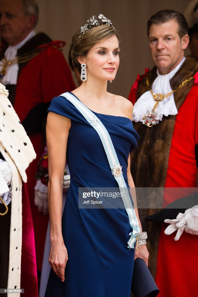 Queen Letizia of Spain attends the Lord Mayor's Banquet at the Guildhall during a State visit by the King and Queen of Spain on July 13, 2017 in London, England. This is the first state visit by the current King Felipe and Queen Letizia, the last being in 1986 with King Juan Carlos and Queen Sofia.
