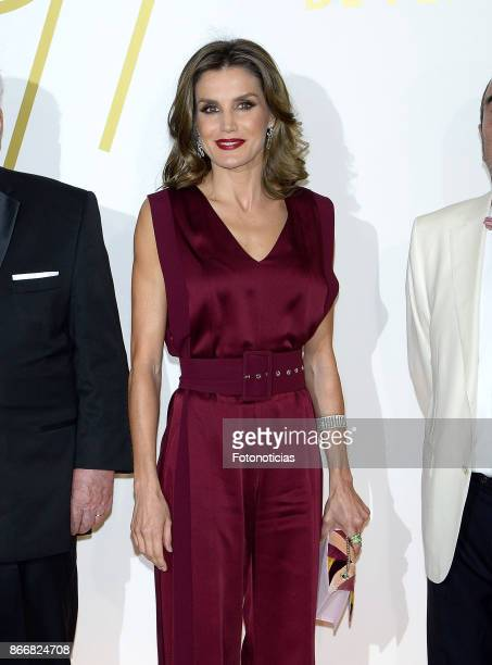 Queen Letizia of Spain attends the 'Mariano de Cavia' 'Luca de Tena' and 'Mingote' Journalism awards dinner at Casa de ABC on October 26 2017 in...