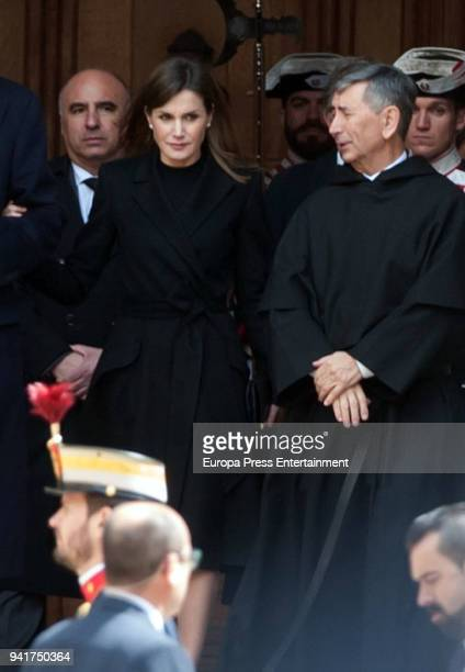Queen Letizia of Spain attends the mass for Count of Barcelona's 25th Anniversary's Death at the monastery of El Escorial on April 3 2018 in El...