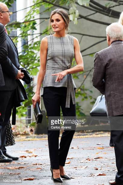 Queen Letizia of Spain attends the meeting of Martin Scorsese with young filmmakers framed within the program 'Fabrica Scorsese' at the old Weapons...