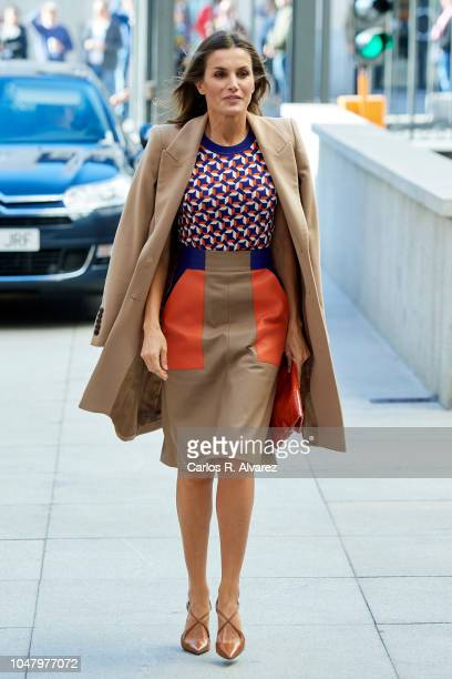 Queen Letizia of Spain attends the Mental Health Day at Spanish Congress on October 9, 2018 in Madrid, Spain.