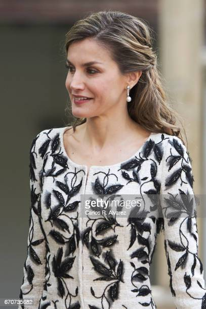 Queen Letizia of Spain attends the 'Miguel de Cervantes 2016' Award given to Spanish writer Eduardo Mendoza at Alcala de Henares University on April...
