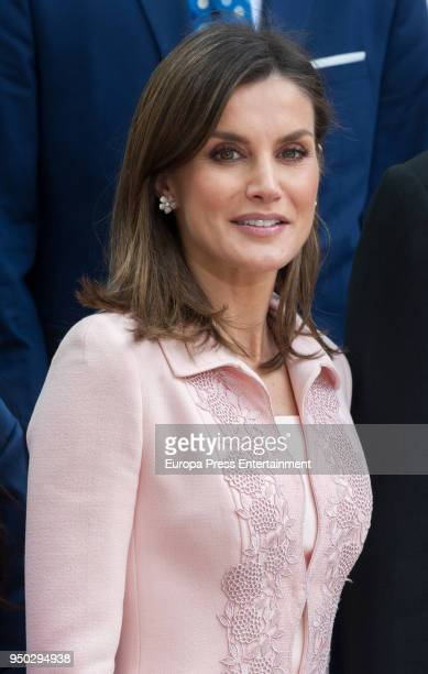 Queen Letizia of Spain attends the 'Miguel de Cervantes 2017' Award given to Nicaraguan writer Sergio Ramrez at Alcala de Henares University on April...