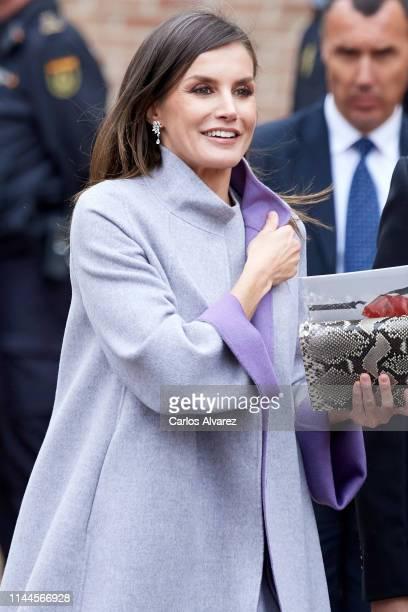 Queen Letizia of Spain attends the 'Miguel de Cervantes 2018' Award given to Uruguayan writer Ida Vitale at Alcala de Henares University on April 23...