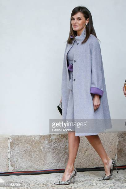 Queen Letizia of Spain attends the 'Miguel de Cervantes 2018' Award given to Uruguayan writer Ida Vitale at Alcala de Henares University on April 23...